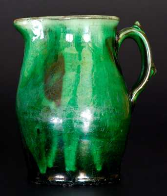 Very Fine JOHN BELL / WAYNESBORO Redware Pitcher with Vibrant Green Glaze
