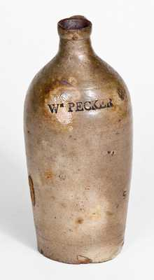 Extremely Rare WM. PECKER Pint-Sized Stoneware Jug, Merrimacport, MA, early 19th century