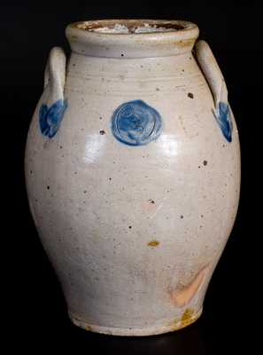Extremely Rare Stoneware Jar with Impressed Hearts and Moon-face Decoration att. Josiah Chapman, Troy, NY, early 19th century