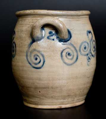 Very Fine 2 Gal. Stoneware Jar with Watchspring Decoration, att. Abraham Mead, Greenwich, CT, late 18th century