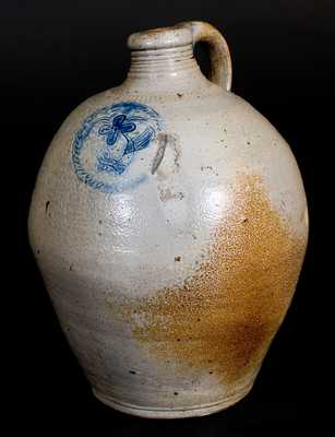 Very Fine 2 Gal. Stoneware Jug with Impressed Floral Decoration, Xerxes Price, Sayreville, NJ, early 19th century
