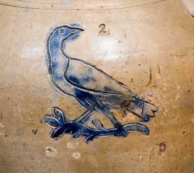 Extremely Rare Stoneware Jar with Impressed Bird and Fish Decoration att. William Pecker, Merimacport, MA, early 19th century