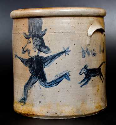 Extremely Unusual Stoneware Crock with Dog-Chasing-Man Decoration, Ohio, circa 1860