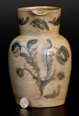 Very Unusual WELLS & RICHARDS / READING, PA Half-Gallon Stoneware Pitcher with Elaborate Floral Decoration