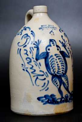 Exceptional Stoneware Jug with Frog Decoration and Bold Cobalt Inscription,
