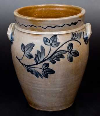 Fine 3 Gal. Stoneware Jar with Floral Decoration, Rockingham County, VA, circa 1850