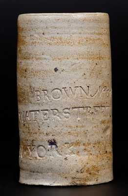 Very Rare Thomas Commeraw, Manhattan Stoneware Canning Jar Impressed BROWN / No. 271 Water Street / N. YORK