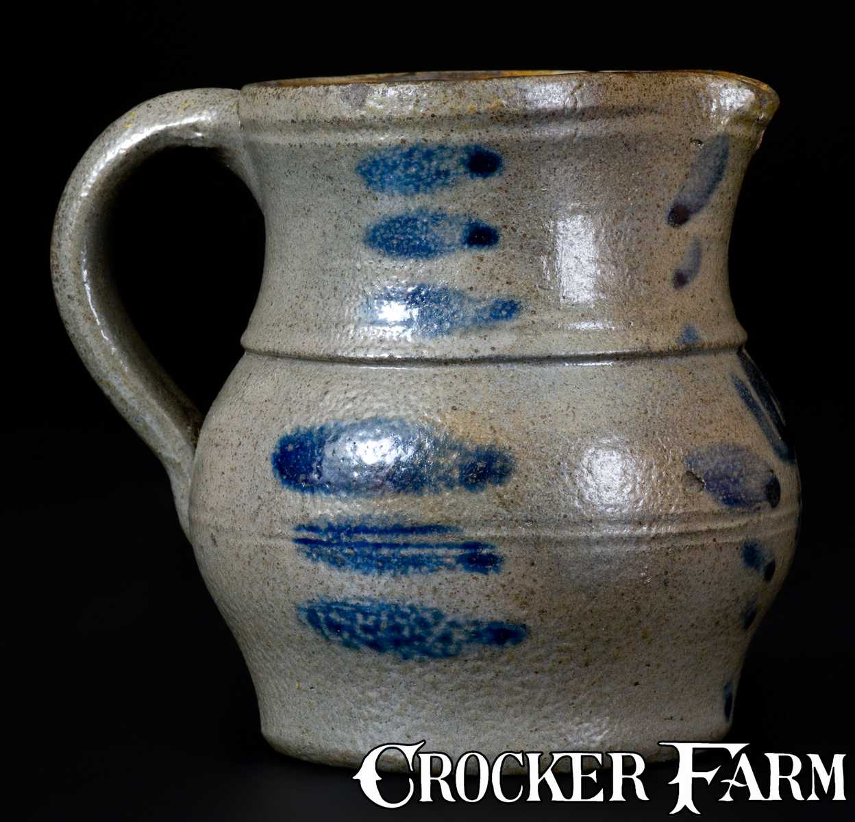 Western Pa Miniature Stoneware Pitcher With Cobalt Floral