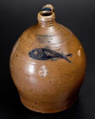Important C. CROLIUS / MANUFACTURER / NEW-YORK Incised Fish Jug