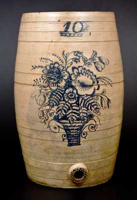Outstanding Ten-Gallon Ohio Stoneware Cooler w/ Profuse Cobalt Flowering Urn
