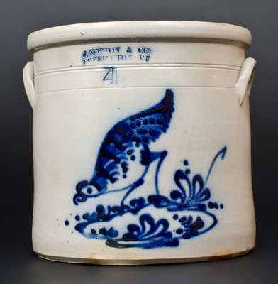 J. NORTON & CO. / BENNINGTON VT Stoneware Crock w/ Cobalt Chicken Decoration