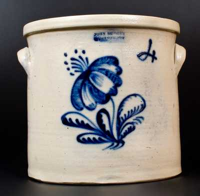 Rare JOHN BURGER / ROCHESTER Stoneware Bird Crock w/ Error Mark