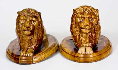 Pair of Large Pottery Lion Figures, Mogadore, OH origin, late 19th century