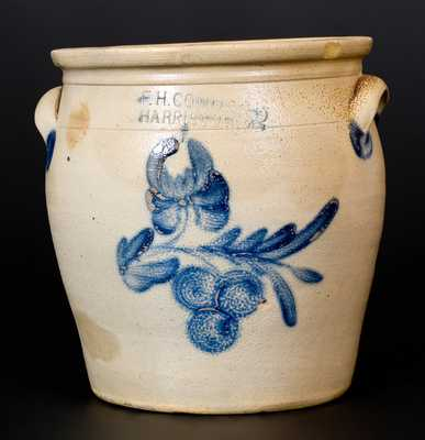 Two-Gallon F.H. COWDEN / HARRISBURG Stoneware Jar w/ Cobalt Cherries