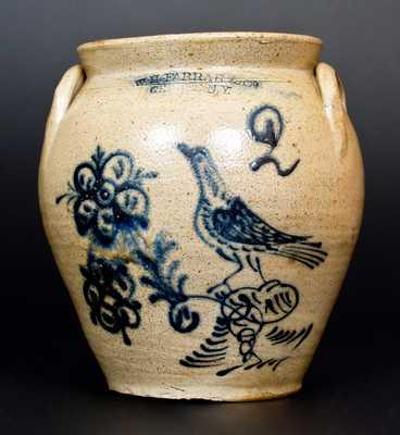 Fine W.H. FARRAR & Co. / GEDDES. N.Y. Stoneware Jar w/ Cobalt Bird and Floral Decoration
