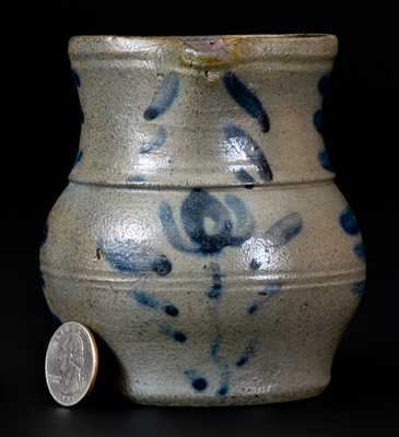 Western PA Miniature Stoneware Pitcher with Cobalt Floral Decoration