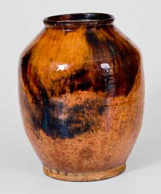 Fine Redware Jar with Manganese Decoration, Bristol County, MA origin