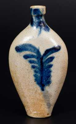 Rare Baltimore Stoneware Flask w/ Cobalt Tulip Decoration, circa 1830