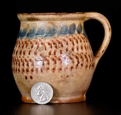 Very Rare and Important Tin Glazed Redware Mug, attrib. John Bell, Chambersburg, PA, c1830