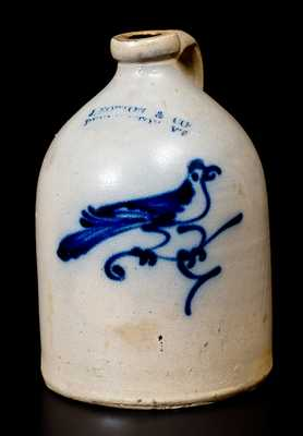 J. NORTON & CO. / BENNINGTON, VT Stoneware Jug w/ Bird Decoration
