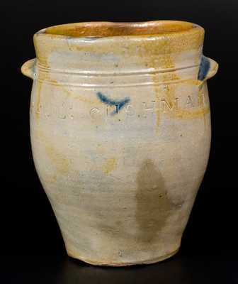 Fine PAUL CUSHMAN, Albany, NY Decorated Stoneware Jar