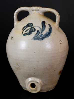 Ovoid Stoneware Water Cooler with Floral Decoration