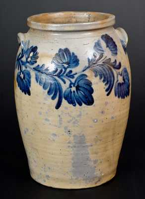 3 Gal. Baltimore Stoneware Jar with Exceptional Floral Decoration, c1840