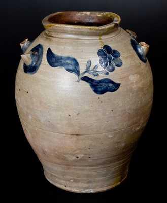 J. REMMEY / MANHATTAN-WELLS / NEW-YORK Stoneware Jar w/ Elaborate Incised Design