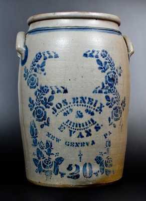 Very Rare JOS. ENEIX & EVANS / NEW GENEVA, PA 20 Gal. Stoneware Jar