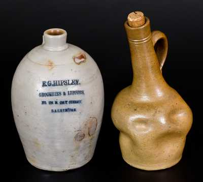 Lot of Two: Baltimore, MD Liquor Jugs incl. Intentionally-Misshapen