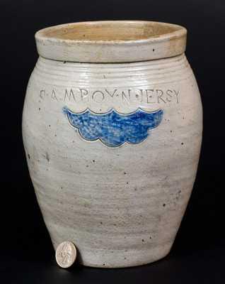 Small S. AMBOY / N. JERSY Ovoid Stoneware Jar att. Warne & Letts, South Amboy, NJ