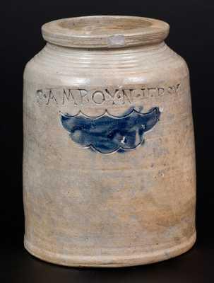 Small S. AMBOY / N. JERSY Stoneware Jar att. Warne & Letts, South Amboy, NJ