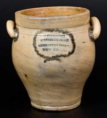 C. CROLIUS / MANUFACTURER / MANHATTAN-WELLS / NEW-YORK Stoneware Jar