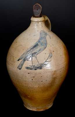 Stoneware Jug w/ Outstanding Incised Bird Decoration, Manhattan, early 19th century