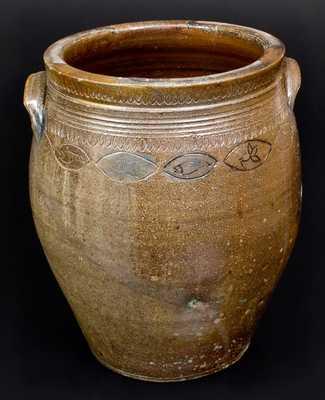Unusual Stoneware Jar w/ Coggled Fish and Floral Motif, South Amboy or Old Bridge, NJ