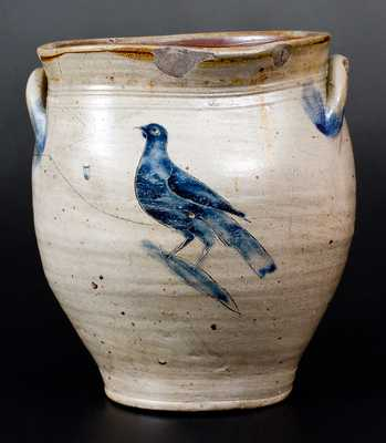 Very Rare Stoneware Jar w/ Fine Incised Bird att. William Capton, Albany, NY