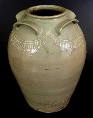 Monumental CHANDLER MAKER (Edgefield, SC) Ten-Gallon Four-Handled Stoneware Jar