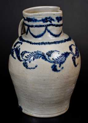 Important Early Baltimore Five-Gallon Stoneware Pitcher w/ Lavish Slip-Trailed Decoration
