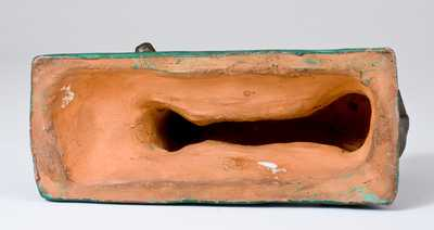 Fine Painted Redware Figure of a Whippet, attrib. John Bell, Waynesboro, PA, c1840-50