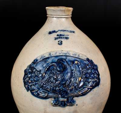 Important J.M,.BURNEY / & SON. / JORDAN, New York Stoneware Eagle Jug