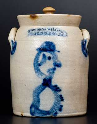 COWDEN & WILCOX / HARRISBURG, PA Stoneware Jar with Hatted Man Decoration