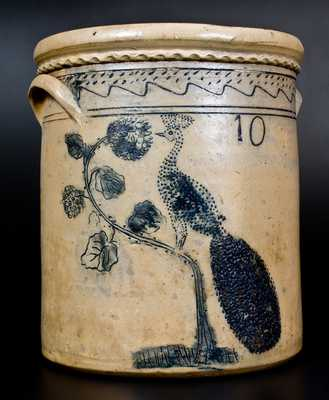Ohio Stoneware Jar w/ Elaborate Incised Peacock Design