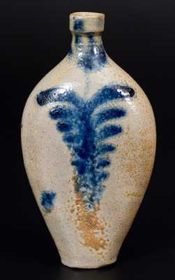 Rare Baltimore Stoneware Flask w/ Cobalt Tulip Decoration, circa 1830