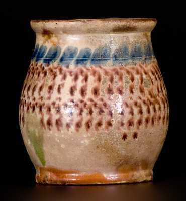 Very Rare and Important Tin Glazed Redware Mug, attrib. John Bell, Chambersburg, PA, c1830