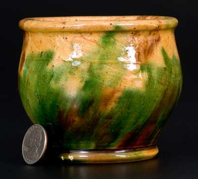 Diminutive Shenandoah Valley (Strasburg, VA) Multi-Glazed Redware Jar
