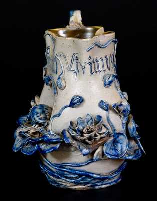 Exceptional Stoneware Pitcher with Applied Frog and Lily Pads Decoration, c1885