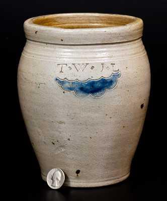Small T.W. J.L. (South Amboy, NJ) Stoneware Jar with Impressed Decoration