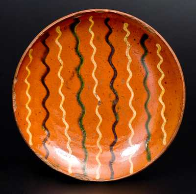 Very Fine PA Redware Plate w/ Green, Brown, Yellow Slip Decoration, probably Berks County
