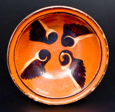 Fine Pennsylvania Redware Bowl with Unusual Decoration