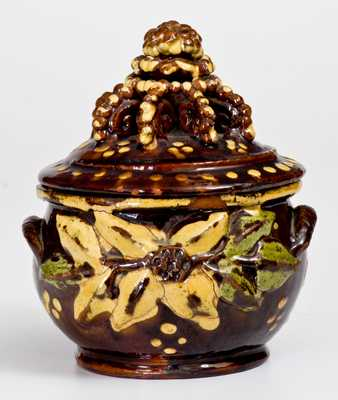 Extremely Rare and Important Redware Sugar Bowl, att. John Nice, Montgomery County, PA, c1830